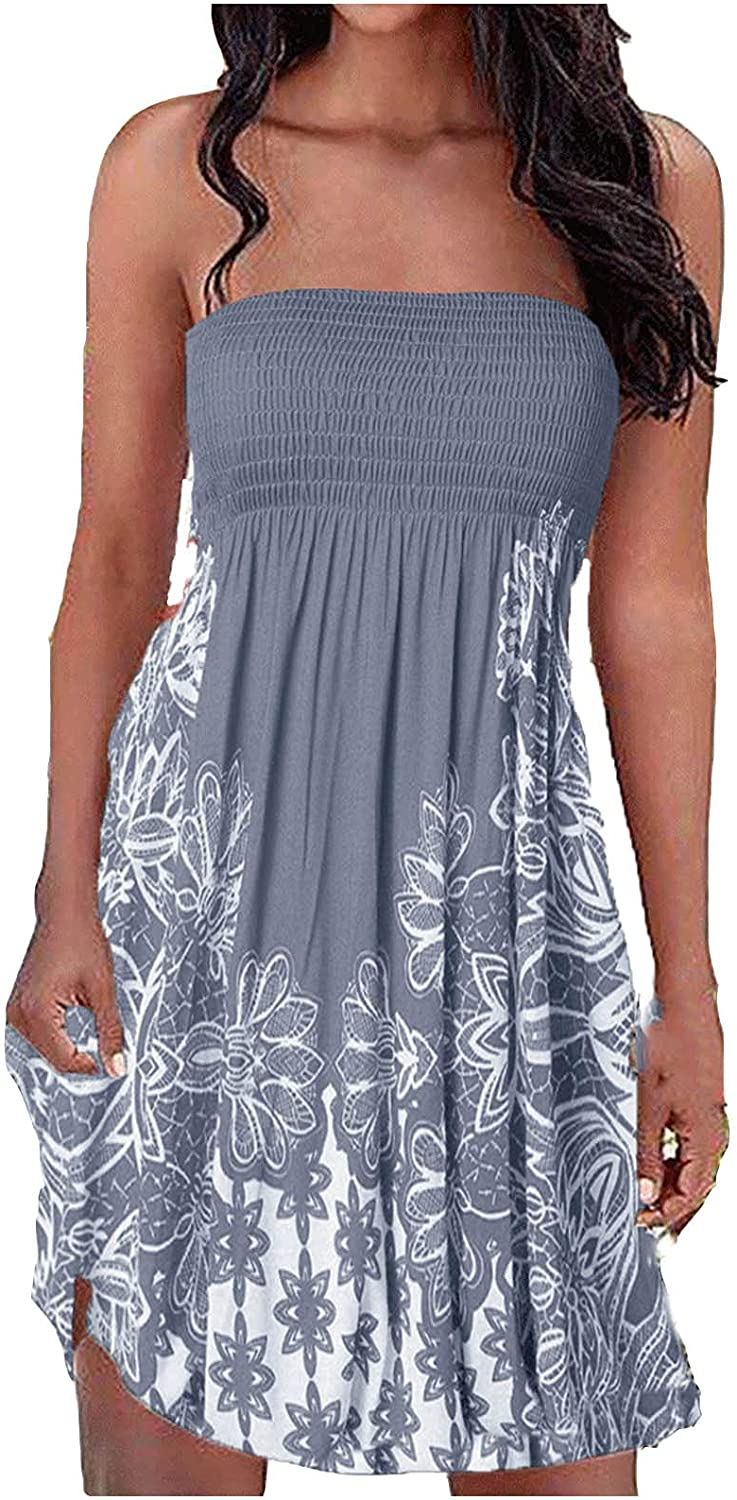 CANDITY Women's Tube Top Dress Flower Printed Dresses Casual Loose Fitting Dresses Corset Pleated Dress Flowy Mini Dress