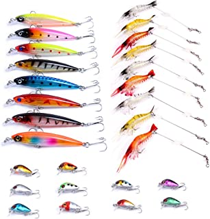Aorace 10pcs/lot Mini Fishing Lures 10 Colors Fishing Bait 2.6cm/1.6g Fishing Tackle #10 High Carbon Steel Treble Hook