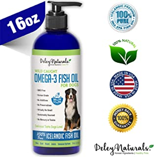 Deley Naturals Wild Caught Fish Oil for Dogs - Omega 3-6-9, GMO Free - Reduces Shedding, Supports Skin, Coat, Joints, Heart, Brain, Immune System - Highest EPA & DHA Potency - Only Ingredient is Fish