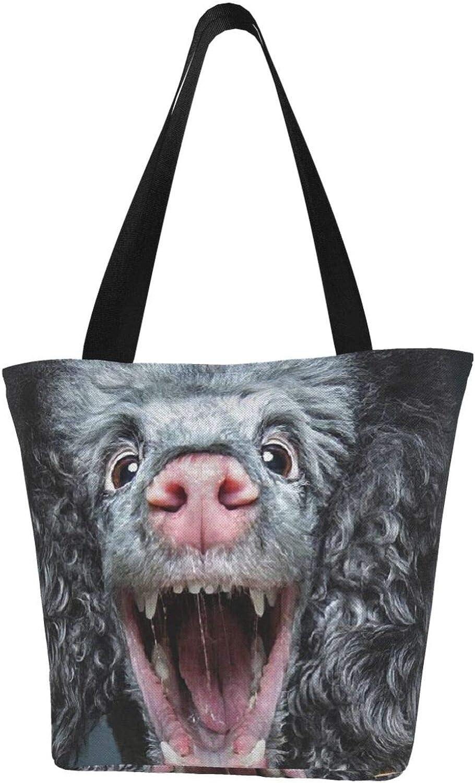 Poodle Dog Face Funny Theme Themed Printed Women Canvas Handbag Zipper Shoulder Bag Work Booksbag Tote Purse Leisure Hobo Bag For Shopping