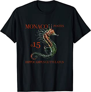 Hippocampus Guttulatus Monaco Seahorse Vintage Stamp T-Shirt