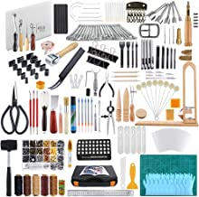 Caydo 509 Pieces Leather Working Tool Set with an Instructions, Punch Cutter Tools, Letter and Number Stamp Set, Stamping Set, Tanned Leather for Beginner and Professional