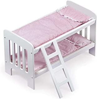 Gingham Doll Bunk Bed with Ladder, Bedding, and Free Personalization Kit (fits American Girl Dolls)