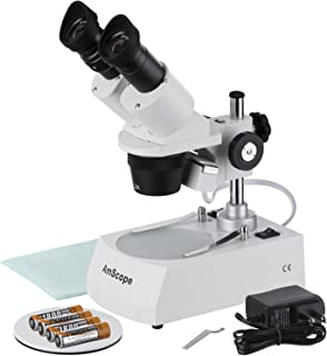 AmScope SE306R-P-LED Forward-Mounted Binocular Stereo Microscope, WF10x Eyepieces, 20X and 40X Magnification, 2X and 4X Ob...
