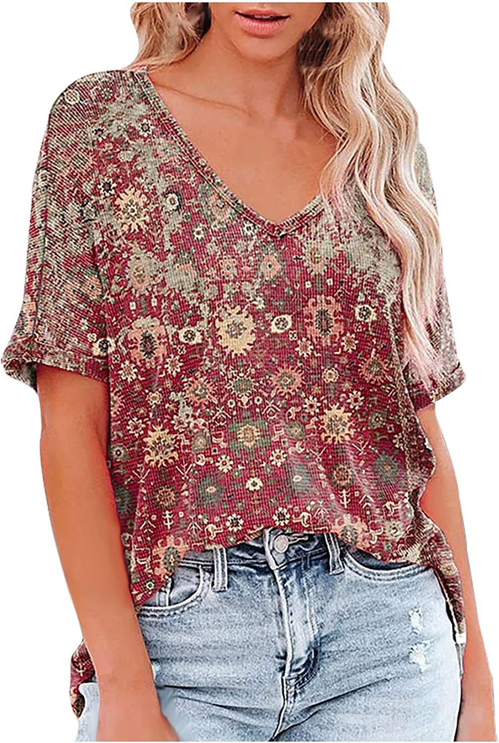 Women's Summer Casual T Shirt Fashion V Neck Short Sleeve Classical Graphic Printed Blouse Tops