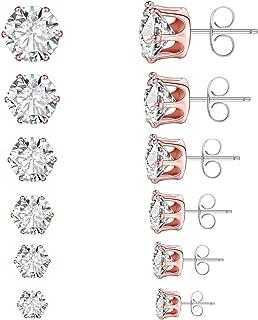 Stud Earrings Set CZ Stainless Steel Hypoallergenic for Women