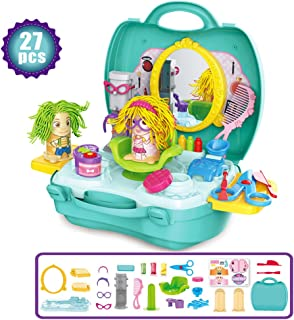 SPIEL Kids Play Dough Playset - 27 Pcs Crazy Cuts Barbershop Dough Set Pretend Play Toy Kit with Dough and Moulds in a Portable Case, Age 3 up