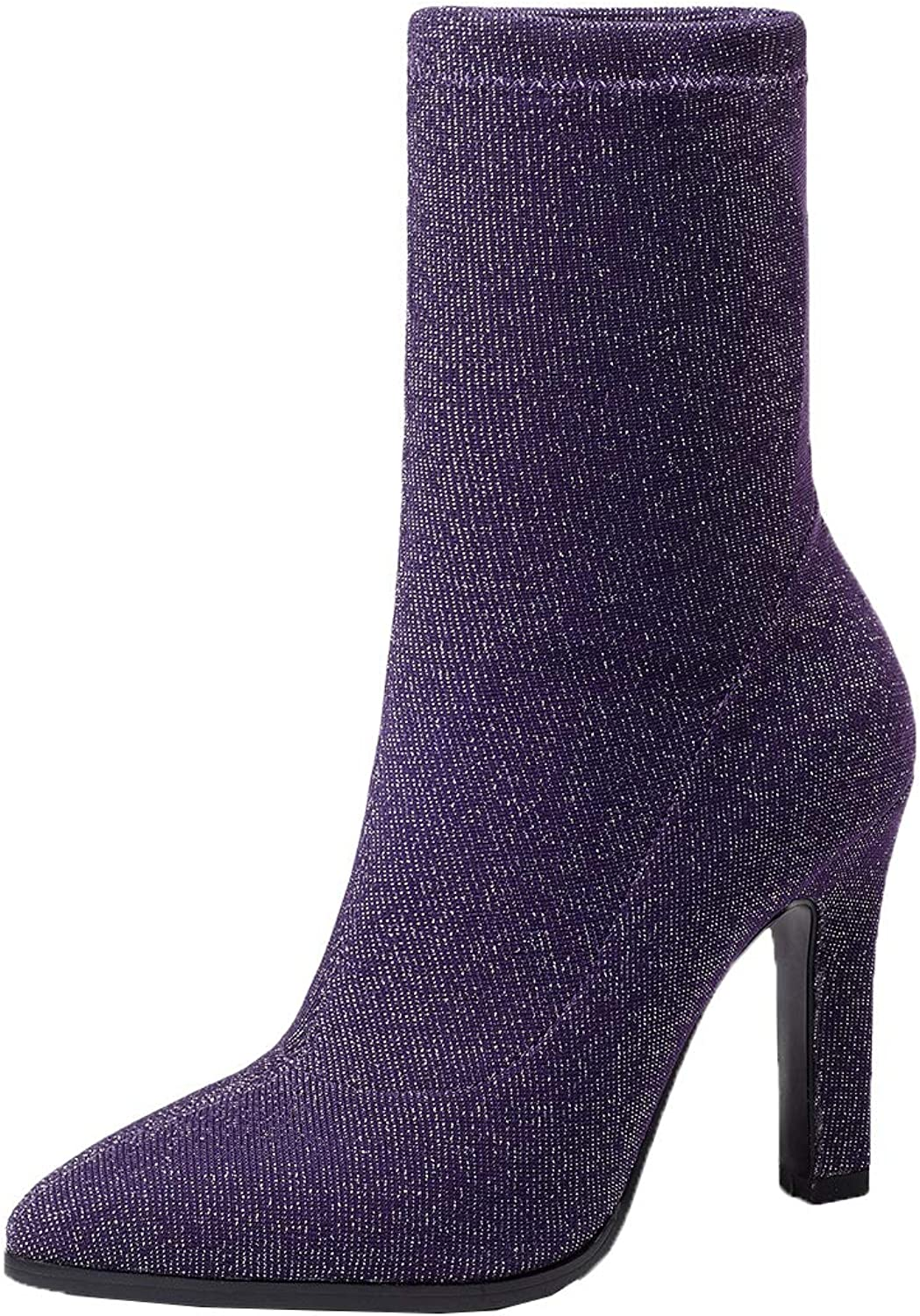 Kikiva Womens Thin High Heel Stiletto Knit Sock Boots Pointed Toe Elastic Breathable Ankle Booties
