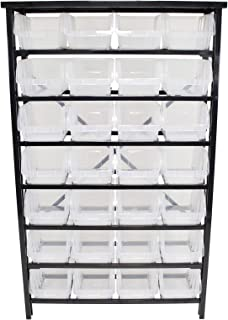 Erie Tools Metal Storage Rack with 7 Tier Shelf with 28 Extra Large Clear-View Plastic Bins for Multi-Use Organization