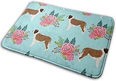 """Saint Bernard Dog Breed Pattern Floral Bouquet 2_16619 Doormat Entrance Mat Floor Mat Rug Indoor/Outdoor/Front Door/Bathroom Mats Rubber Non Slip 23.6"""" X 15.8"""""""