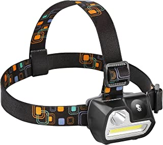 Headlamp, RockBirds H542 200Lumens 5 Modes LED Headlights, Waterproof Touch Sensitive Switch, 3 AAA Batteries (White & Red)