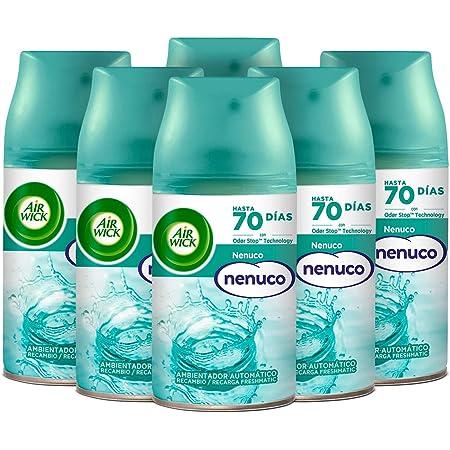 Air Wick Freshmatic - Recambios de ambientador spray automático, esencia para casa con aroma a nenuco - pack de 6