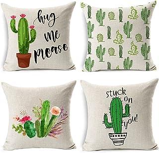 Gspirit 4 Pack Verano Estilo Cactus Algodón Lino Decorativo