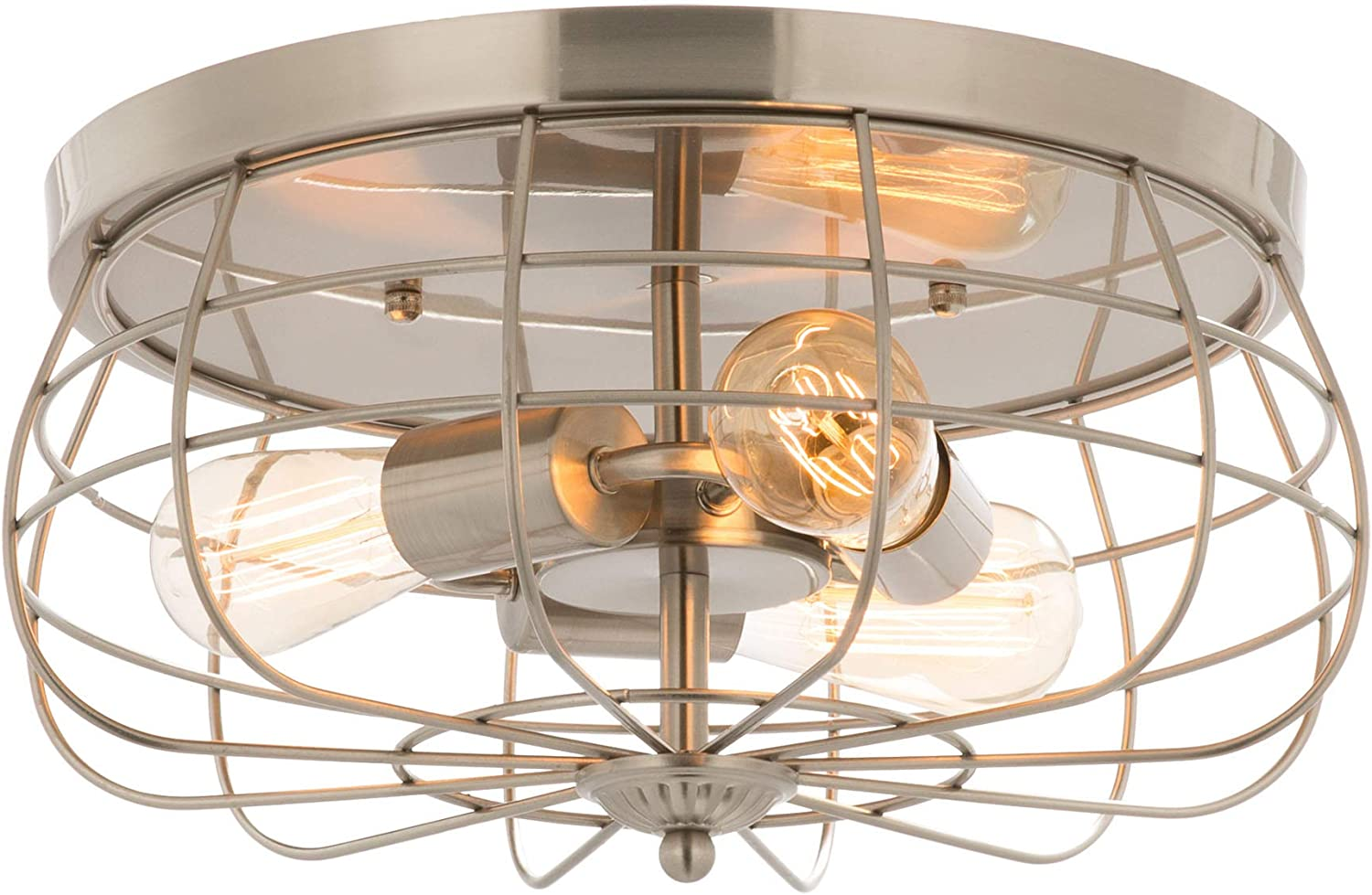 15 Inch Los Angeles Mall Metal Cage Brushed Nickel Light Mount Flush Fixt 35% OFF Ceiling
