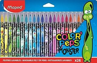 Maped - Feutres Monster Color'Peps - 24 Feutres de Coloriage Fun et Originaux - Lavables et Résistants au Séchage - Feutre...
