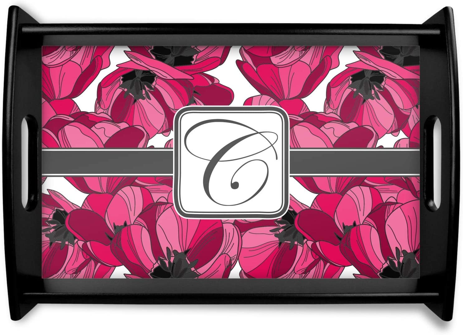 Tulips Black Courier shipping free shipping Wooden Tray Small Personalized Super sale -