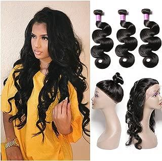 Sheng Qi Hair 8A Grade 360 Lace Frontal Closure with Bundles Brazilian Body Wave Virgin Hair Bundles with 360 Lace Frontal Unprocessed Human Hair with 360 Frontal 22 24 26+20 360frontal, Natural Color