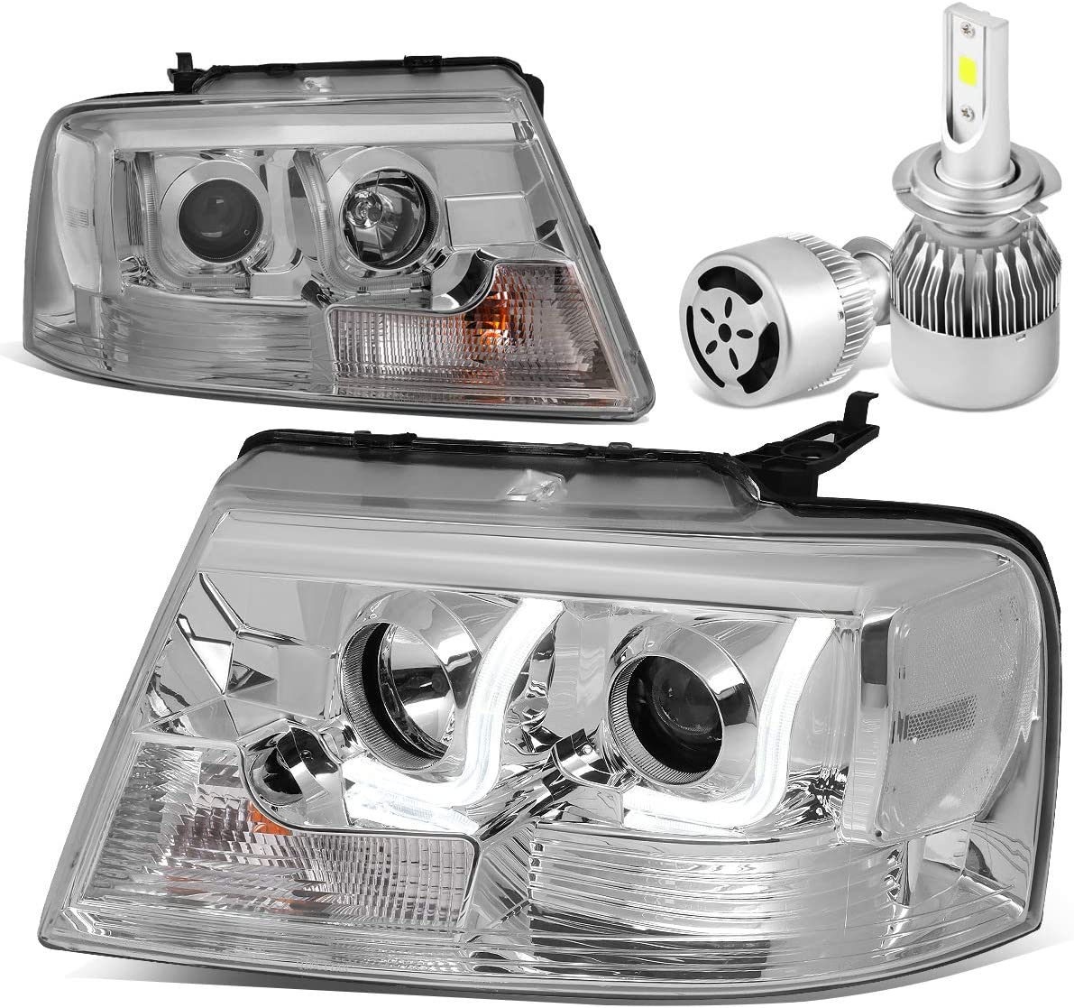 Replacement for Ford F150 gift Pair of Chrome Clear Complete Free Shipping Signal Housing 3D