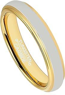خاتم نسائي من كربيد التنجستين 4 مم للرجال خاتم زفاف 18 كيلو مطلي بالذهب مصقول حافة الراحة صالح