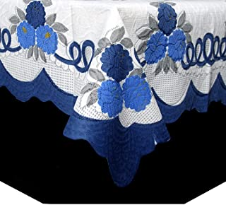 KUBER INDUSTRIES cotton Center Table Cover Cream & Blue Cloth Net for 4 Seater 40 X 60 Inches (Floral Design) Code, Center...