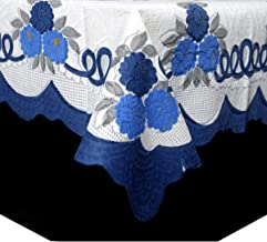 Kuber Industries™ Center Table Cover Cream & Blue Cloth Net for 4 Seater 40 * 60 Inches (Floral Design) Code-CTC01