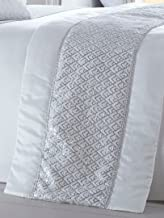 Portfolio Luxury Sequin Diamante Quilted Bed Runner Throw 50cm X 220cm Shimmer White New
