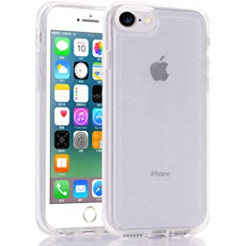 BAISRKE Clear Glitter Case for iPhone SE 2, Hybrid Heavy Duty Protection Case Hard Plastic & Soft TPU Sturdy Shockproof Armor High Impact Resistant Cover for iPhone SE 2/8 / 7 / 6S 6 [Clear]
