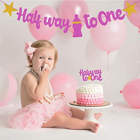Festiko Pink 1/2 Birthday Decoration Banner with Cake Topper, Half Birthday Decoration, Party Decoration Items(Half Way to one)