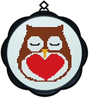 Full Range of Embroidery Starter Kits Stamped Cross Stitch Kits Beginners for DIY Embroidery (Multiple Pattern Designs) - Sleeping owl
