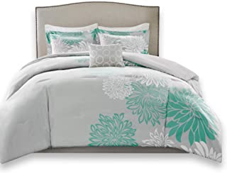 Comfort Spaces Enya 5 Piece Comforter Set Ultra Soft Hypoallergenic Microfiber Floral Print Bedding, Full/Queen, Aqua/Grey