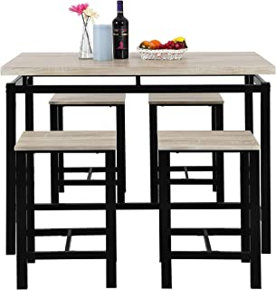ALI VIRGO Modern Design Style 5-Piece Dining Set Wooden Kitchen Table and Chairs with Metal Legs, Beige Black