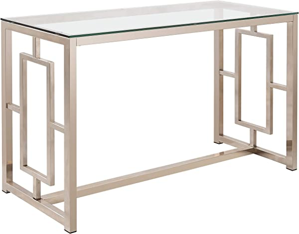 Coaster Home Furnishings Cairns Sofa Table With Glass Top And Geometric Motif Nickel And Clear