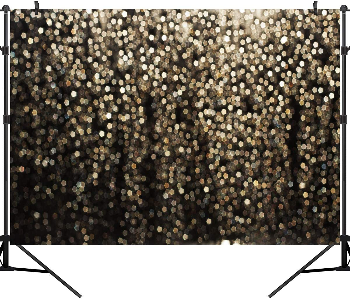 OUYIDA 7X5FT Gold Glitter Backdrop Happy New Year 2021 Gold Bokeh Spots Vinyl Backdrop for Birthday Party Pictures Photo Booth Shoot Festival Prom Dance Decor Wedding PCK45A