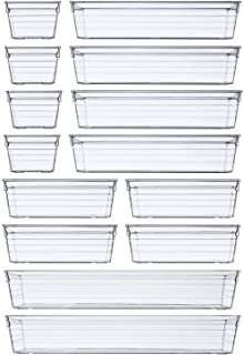 14PCS Clear Plastic Drawer Organizer Tray for Makeup, Kitchen Utensils, Jewelries, and Gadgets