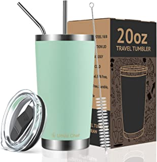 Umite Chef 20oz Tumbler Double Wall Stainless Steel Vacuum Insulated Travel Mug with Lid, Insulated Coffee Cup, 2 Straws, for Home, Outdoor, Office, Ice Drink, Hot Beverage(20 oz, Tiffany Blue)