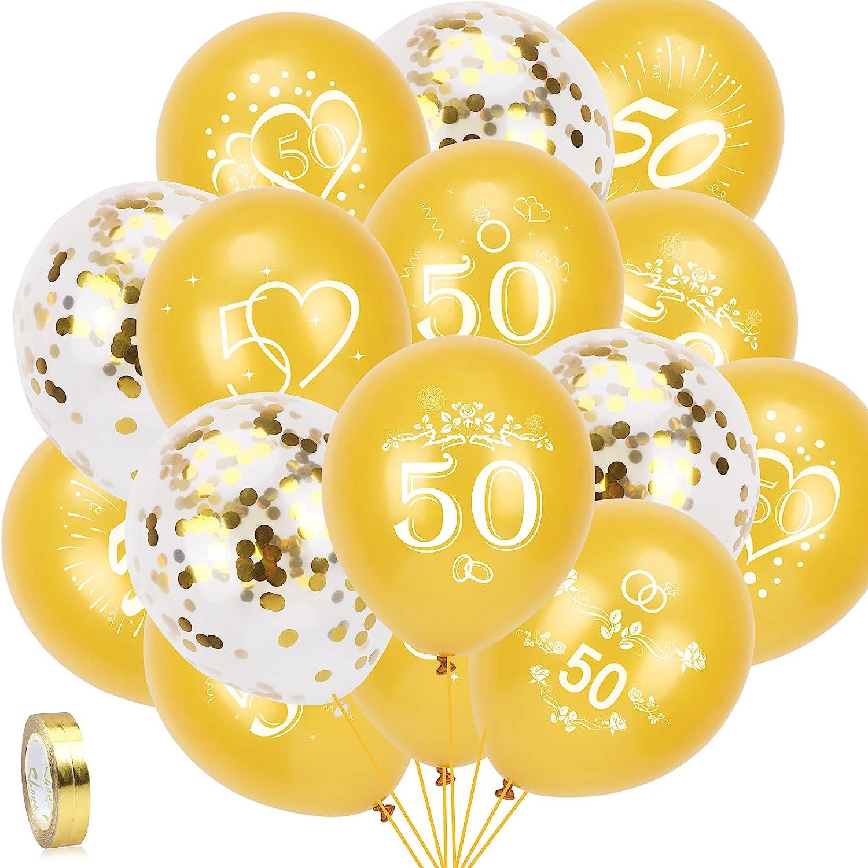 HOWAF 35pcs 50 Aniversario Bodas Oro Globos para Bodas de Oro Decoración, Oro 50 Aniversario Globos de Látex y Globos De Confeti Oro, 50 Aniversario Bodas Oro Decoración 50 Años Cumpleaño Globos
