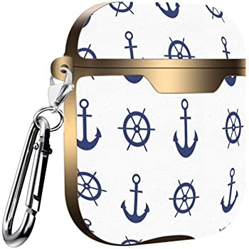 Compatible with AirPods 2 and 1 Nautical Shockproof Soft TPU Gel Case Cover with Keychain Carabiner for Apple AirPods