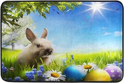 JSTEL Nonslip Door Mat Home Decor, Happy Easter Bunny and Eggs Durable Indoor Outdoor Entrance Doormat 23.6 X 15.7 Inches