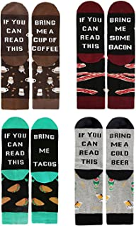 XIMIXI 4 Pairs Fun and Novelty Socks for Men Women, Humorous Words If You Can Read This Bring Me Coffee Beer Bacon Tacos U...