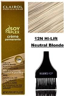 Clairol Soy4Plex Premium PERMANENT CREAM HAIR COLOR (w/Sleek Tint Brush) 100% Gray Coverage Creme Permanente Professional Grey Haircolor (12N Hi-Lift Neutral Blonde)