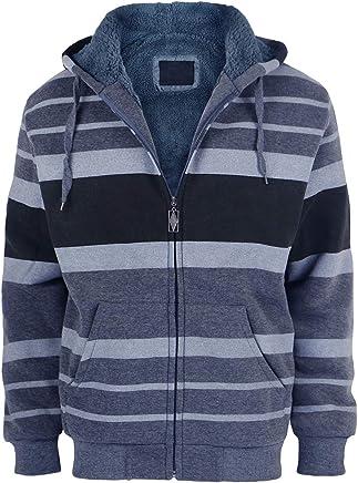 5f3e46ca9c Urimoser Hoodies for Men Zip Up Stripe Design Heavy Fleece Lined Sweatshirts