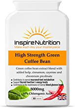 High Strength Green Coffee Bean – 8000mg x 60 Capsules – Max Strength GCA with 50 Chlorogenic Acids – beneficail for Weight Loss Fat Burning and Energy Levels 110 Money Back Guarantee Estimated Price : £ 13,64