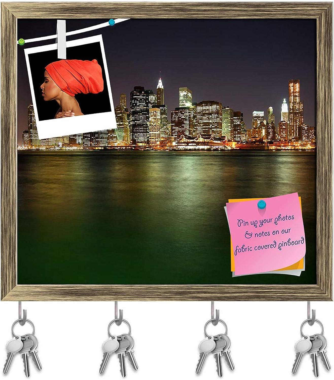 Artzfolio Manhattan in New York City at Night, USA Key Holder Hooks   Notice Pin Board   Antique golden Frame 17.9 X 16Inch
