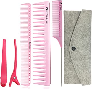 HYOUJIN 5in1 6ps Pink Professional Hair Styling Comb Set kit Beard Comb kit set & Heat-resistance w/Cutting Comb + Wide tooth comb + Pintail comb + 2 Hair Clips & Felt Pouch
