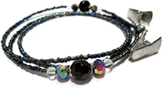 ATLanyards Oil Slick with Black and Gray Decorative Beads Glasses Chain, Beaded Eyeglass Holder with Clips
