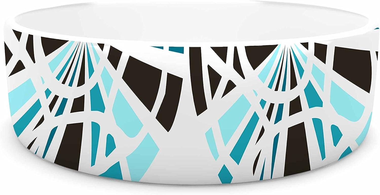 KESS InHouse Patternmuse Precious Topaz bluee Teal Illustration Pet Bowl, 7  Diameter