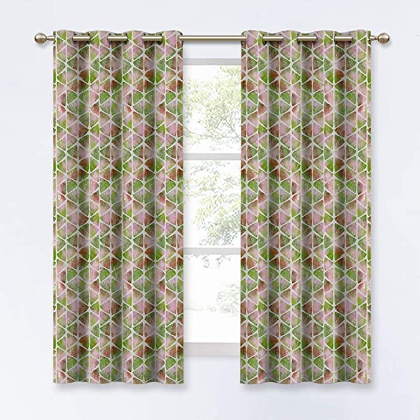 KGORGE 三角形形成房间变暗窗帘厨房房间颜色渐变印花窗帘床浴室装饰 1 对 W 52 X L 63 英寸粉绿色