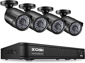 ZOSI PoE Home Security Camera System,8CH 2MP NVR with (4) 2.0 Megapixel 1920x1080 Outdoor/Indoor Surveillance Bullet IP Cameras 120ft Long Night Vision,Remote Access,Motion Detection(No Hard Drive)