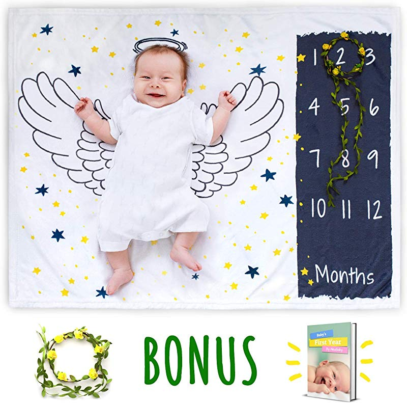 Baby Monthly Milestone Blanket For Girl Boy Blankets In Fleece For Newborn Infant Shower Gift Props Photo Month Organic Growth With Floral Frame Free E Book 30x40 By NewBaby