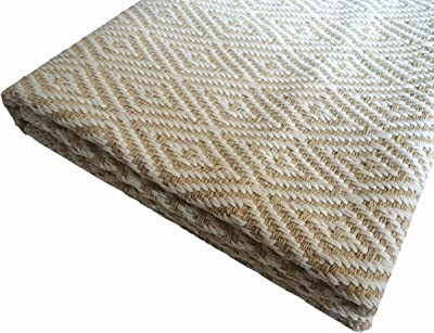 Ukeler Cotton Rug 2'×3' Machine Washable Door Mat Super Soft Anti-Fatigue Kitchen Rugs Bathroom Rugs Hand-Woven Geometric Throw Rugs Fully Reversible, Beige